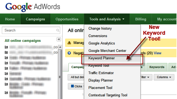 Marketing/keyword planner